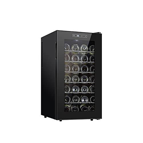 MIAOYO 28 Botellas Refrigerador De Vino,Vinoteca,Operación Silenciosa Vinoteca,Vinoteca para Cocina Pequeña Apartamento Cabaña RV,Negro,45x52x73cm
