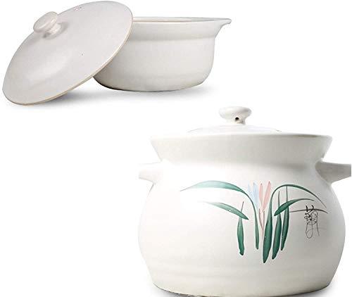 SMSOM Cocina de arcilla esmaltada natural, cazuela redonda, placa de cerámica de cerámica de calidad, tazón de olla de cerámica, calefacción directa de tallares de fideos de arroz bibimbap pronto tofu