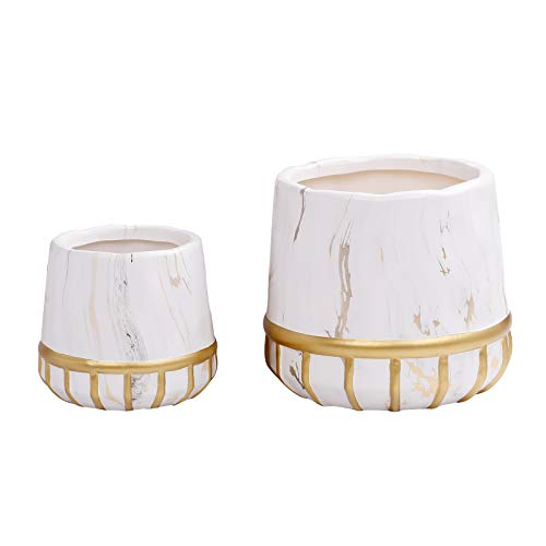 Modern Ceramic Flower Pots 2pcs Plant Pots 7  5 in Medium amp Small Floor Planters Indoor Gardening Containers Marbling amp Golden Decorative Lines White