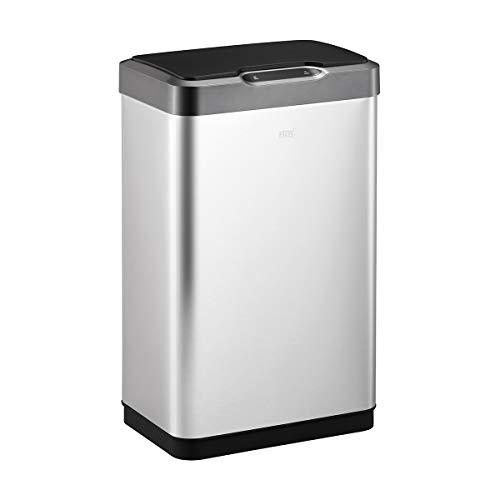 EKO Mirage-T 50 Liter / 13.2 Gallon Rectangular Motion Sensor Trash Can, Brushed Stainless Steel Finish