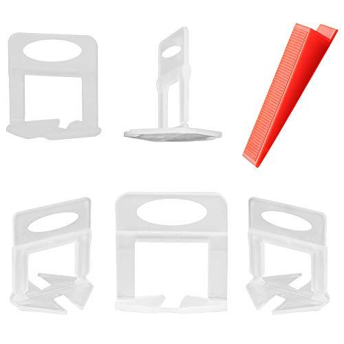 qipuneky, Sistema de nivelación de azulejos, 500 clips espaciadores de azulejos, 100 cuñas reutilizables para nivelar el suelo (blanco)