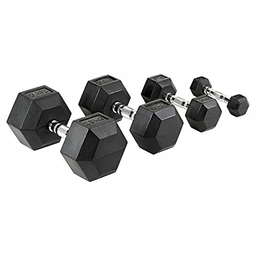 RDS - Set di manubri esagonali in gomma da 2,5 kg, 5 kg, 10 kg, 15 kg, 20 kg, 25 kg e 30 kg, ideali per allenamenti in palestra e a casa, pesi per mani durevoli per allenamenti muscolari e forza.
