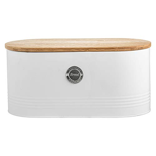 Typhoon Arctic - Set di 3 contenitori rotondi per tè, caffè e zucchero, con coperchio ermetico in bambù, 1 litro Contenitore per il pane: 33,5 x 18 x 16 cm (lunghezza x larghezza x altezza). bianco