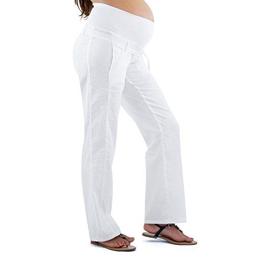 MAMAJEANS Livorno - Pantalone Premaman Estivo, Tessuto in Lino, Fascia sul Pancione in Jersey di Cotone - Made in Italy (Bianco, 50)
