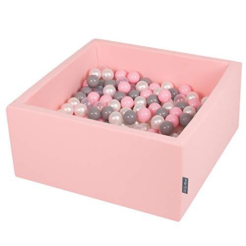 KiddyMoon 90X40cm/200 Balles ∅ 7Cm Carré Piscine À Balles pour Bébé Fabriqué en UE, Rose : Perle/Gris/Transparent/Rose Poudré