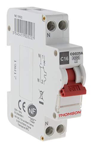 Artezo Disjoncteur à Vis Ph+N - 16A NF - Pouvoir de Coupure 4.5kA - Thomson