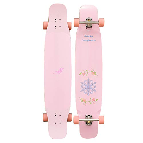46 inch Skateboards Longboard Cruiser Dancing Freestyle Deck Beginners Complete Double Kick Birthday Gift for Kids Boys Girls Youths Teens Load 400 lb
