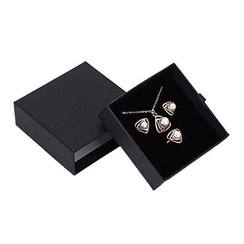ZUOLUO cajitas de Carton para Regalos Caja de Regalo Anillo Almacenamiento de joyería y bisutería La Caja de visualización Negro Caja de Anillo Bracelet Box