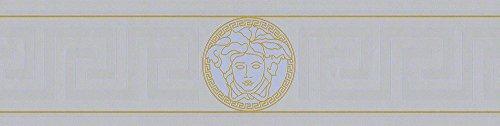 Versace wallpaper 935225 93522-5 Borte geometrisch grafisch Bordüre Greek, silberfarben, 5,00 m x 0,13 m