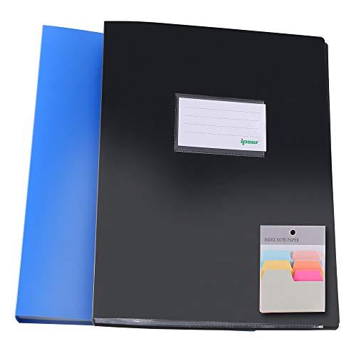 2PCS Ipow A4 60 Poches Porte-vues Doucement à pochette Format (120 Côtés) avec 90 Feuilles de Notes Autocollantes - Bleu+Noir