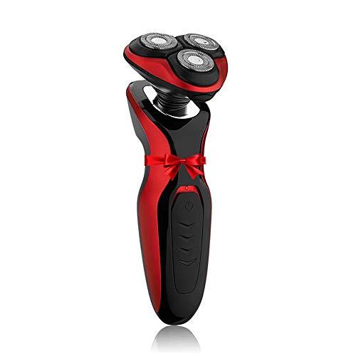Afeitadora Eléctrica Hombre, Afeitadora Eléctrica Rotativa Máquina de Afeitar Recargable Uso Seco y Húmedo, 4D Cabezales Giratorios Recortadora de Precision Barba (negro + rojo)