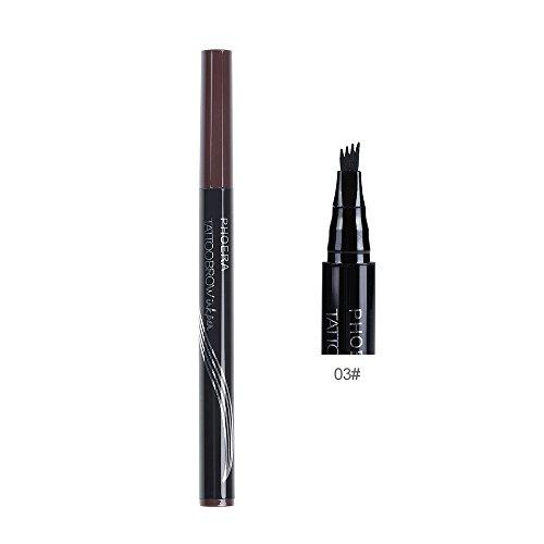 3 colores tatuaje de cejas a prueba de agua con cepillo lápiz de cejas mate automático larga duración cosméticos cejas pluma