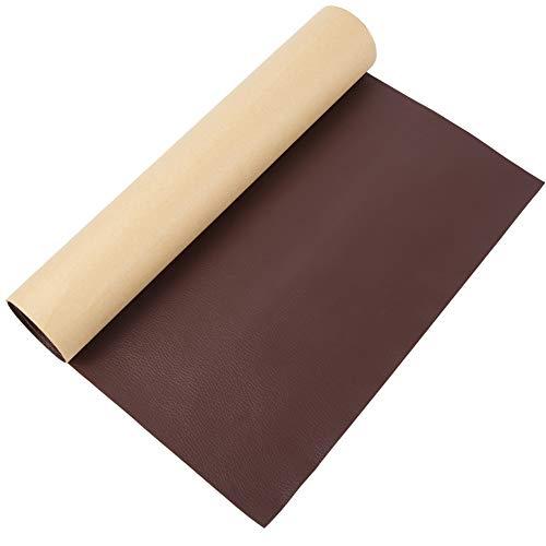 BENECREAT 0.6m 30cm PVC Cuero Autoadhesivo de Imitación Parche Marrón de Reparación de Cuero Espesor de 0.8mm Cuero Impermeable para Reparación de Sofá, Bolso, Silla de Cuero