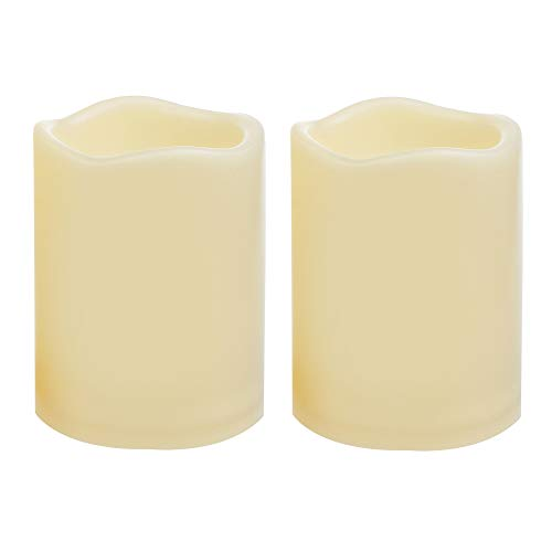 2 Waterproof Outdoor Battery Operated Flameless LED Pillar Candles with Timer Flickering Plastic Resin Electric Decorative Light for Lantern Patio Garden Home Decor Party Wedding Decoration 3x4 Inches