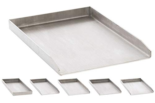 CLP Edelstahl Grillplatte für den Gasgrill, Kohlegrill und den Elektrogrill I Bratplatte mit glatter Oberfläche edelstahl, 30x45x3,6 cm