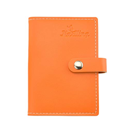 Karlling Slim Minimalist Soft Leather Mini Case Holder Organizer Wallet for 20 Credit Card(Orange)