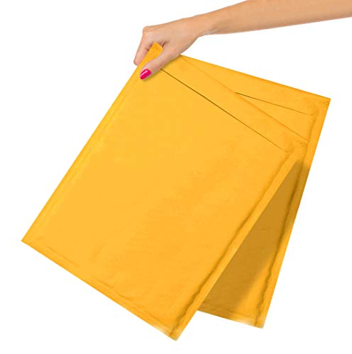ABC Pack of 25 Gold Kraft Bubble Padded Envelopes 10.5 x 15 Bubble Mailers. Peel and Seal Envelopes. Yellow Cushion Envelopes 10 1/2 x 15 for Mailing Packaging Shipping Mailer in Bulk, Wholesale Price
