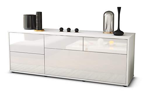 Stil.Zeit TV Schrank Lowboard Anna, Korpus in Weiss matt/Front im Hochglanz Design Weiß (135x49x35cm), mit Push to Open Technik, Made in Germany