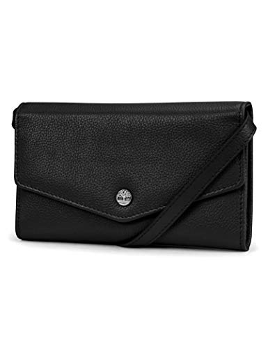 Timberland RFID Leather Wallet Phone Bag with Detachable Crossbody Strap, Black (Pebble)