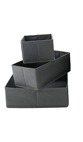 SKYFUN (LABEL) Set of 3 Washable Closet Dresser Drawer Organizer Cube Basket for Baby Clothing Nursery Ties Lingerie Panties Belts
