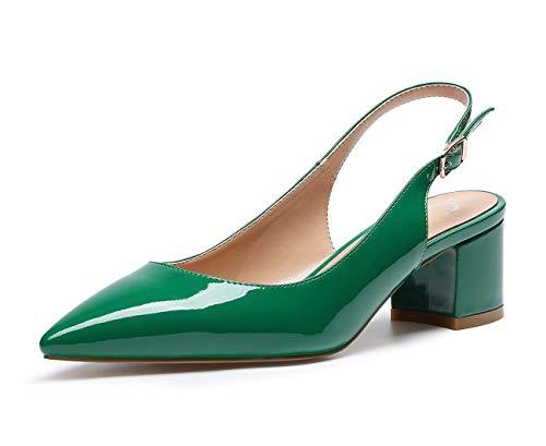 CASTAMERE Zapatos de tacón Clásicos Zapatos Mujer Tacón Fiesta Sandalias de Tacón Bajo para Mujer 5 CM Charol Verde EU 40