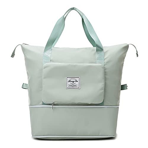 Huakaimaoyi Bolsa de deporte portátil seca y húmeda separada, bolso grande de las mujeres para el deporte, viajes, natación, yoga, camping, gimnasio (verde)