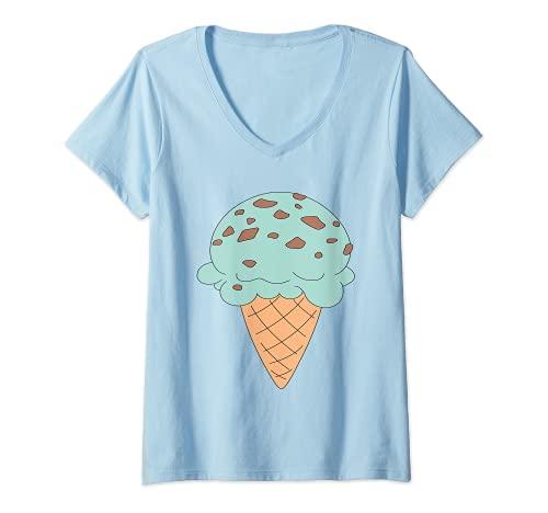 Mujer Cono de helado de chocolate menta con chip de dibujos animados Camiseta Cuello V
