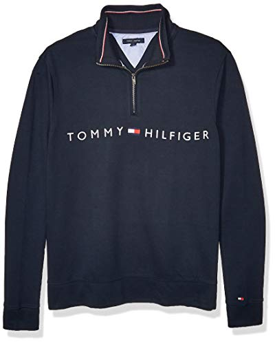 Tommy Hilfiger Men's Big and Tall 1/4 Zip Pullover Sweater, Sky Captain, Big-4XL