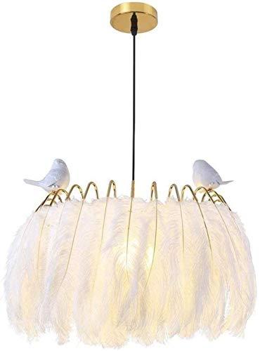 Lámpara colgante de diseño moderno, decoración romántica de aves con plumas blancas, luz colgante, personalidad, habitación para niños, altura ajustable 50 CM E27 Max 60 W