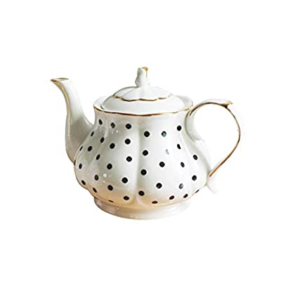 European Style Teapot Handmade Ceramic Teapot Pumpkin Fluted Shape Vintage Tea Party Set Gift (Polka dot)
