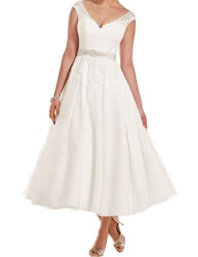 Kurz Brautkleider Wadenlang Hochzeitskleid A-Linie Kleider mit Gürtel für Braut Spitze Applikation Elfenbein 52