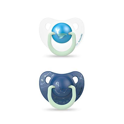 Suavinex - Pack 2 Chupetes Nocturnos para bebés 6-18 meses con Anilla Luminiscente Tetina Anatómica de Silicona Brilla en la Oscuridad, Azul (306809)