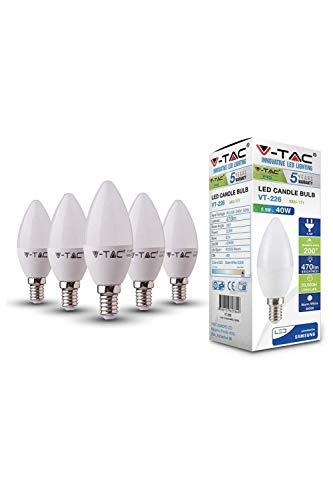 V-TAC E14 LED Lampe, Kerzenform, 5.5W (ersetzt 40W), 4000K, plastik - 5er-Pack