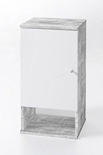 """Hängeschrank """"Tobi 3"""", Betonoptik/weiß, 1 Tür, 1 offenes Fach, 35x70,5x32cm, Badezimmerschrank, Badezimmerhängeschrank, Badhängeschrank"""
