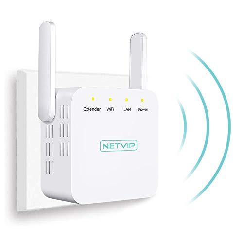 NETVIP N300 Ripetitore Wireless WiFi Extender, Potenzia la Tua Copertura Ripetitore WiFi 2.4GHz, Alta dissipazione del Calore (2 x Antenna Esterna, Porta LAN), Compatibile con Tutti i Router WiFi