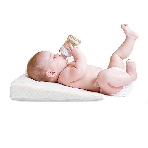 ZQN Keilkissen für Baby, Premium Memory Foam Anti Reflux Keilkissen, Slow Rebound atmungsaktive waschbare Unterstützung Kissen für Kinder Kinder Baby,Grau