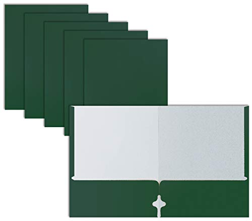 Two Pocket Portfolio Folders, 50-Pack, Dark Green, Letter Size Paper Folders, by Better Office Products, 50 Pieces, Hunter Green