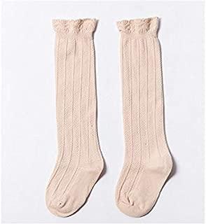 Lovely Socks 6 Pairs Girls Children Cotton Socks Kids Spring and Autumn Lace Long Tube Socks (Black) Newborn Sock (Color : Khaki)