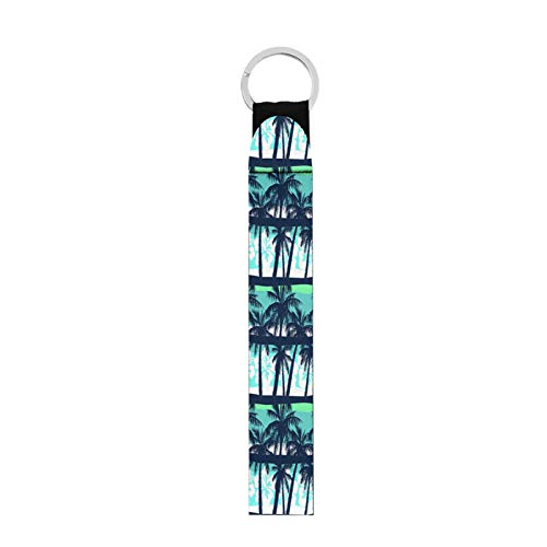 FUSURIRE Palm Trees Print Long Wristlet Keychain Durable Key Chain Hold/USB/Mobile Phone Women Men Keychain Green Car Home Keys Chains with Matel Ring Green