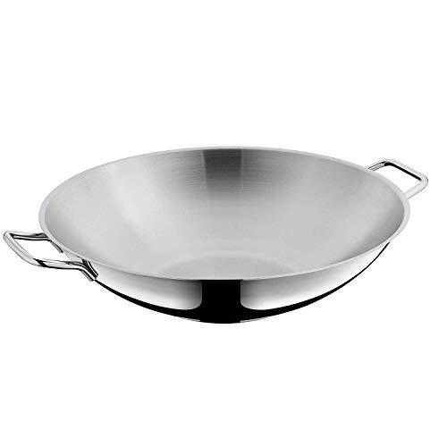 WMF Macao - Juego de wok de 2 piezas con sartén de 36 cm y tapa de cristal, acero inoxidable Cromargan, sin revestimiento, para inducción