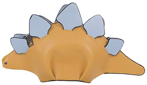 QZUnique Schulterhandtaschen für Damen, 3D-Einhorn-börse, Tier-Stil, Taschen, Reißverschluss, Crossbody-Börse, Clutch, Kuriertasche, Weiß, (B-milata Dinosaurier-gelb), Einheitsgröße