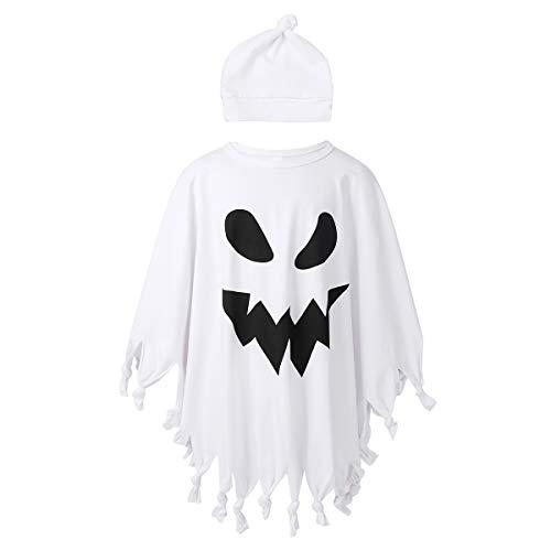 YiZYiF Halloween Kostüm Kinder Baby Gespenst Geist Kostüm Quaste Umhang Robe mit Hut Faschingskostüme Cosplay Party Karneval Fastnacht Kleid Weiß 110-116