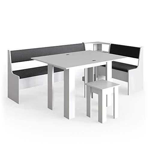 Vicco Eckbankgruppe Roman Esszimmergruppe Eckbank Sitzgruppe Tisch Hocker (Weiß, 210x120cm)