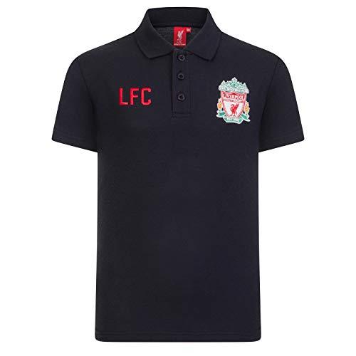 Liverpool FC - Jungen Polo-Shirt mit Wappen - Offizielles Merchandise - Schwarz - LFC - 12-13 Jahre