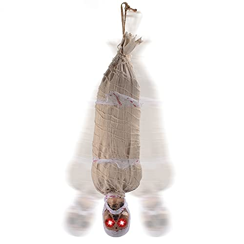 JOYIN 35″ Halloween Animated Hanging Corpse with LED Light Up Eyes & Sound Effect for Indoor and Outdoor Decorations