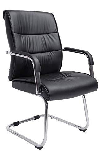 CLP Freischwingerstuhl Sievert Mit Polsterung Und Kunstlederbezug I Konferenzstuhl Mit Armlehne, Farbe:schwarz