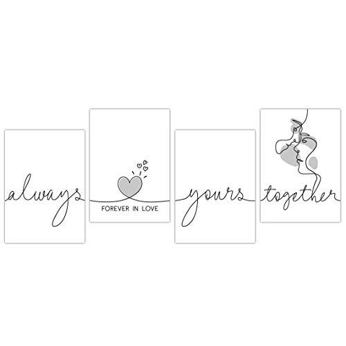 TOBJA® Hochwertiges Poster Set Liebe - Exklusive Premium Bilder für Wohnzimmer Schlafzimmer   4X DIN A4 Kunstdruck mit Sprüchen ohne Bilderrahmen   Moderner Schriftzug in Schwarz Weiß (Love 2)
