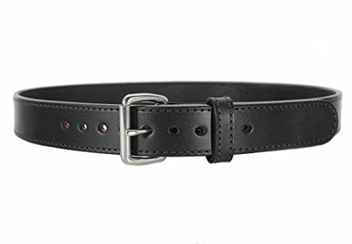 "Daltech Force Bull Hide Leather Belt - Stitched 1.5"" Wide Gun Belt (Black, 32)"