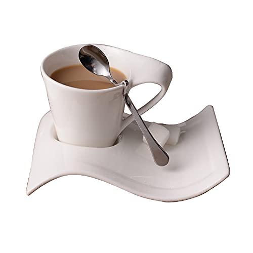 Moshbu Juego de taza de café 3 en 1 con cuchara de acero inoxidable, juego creativo de taza de café de 200 ml, taza de café, microondas y lavavajillas, tazas únicas