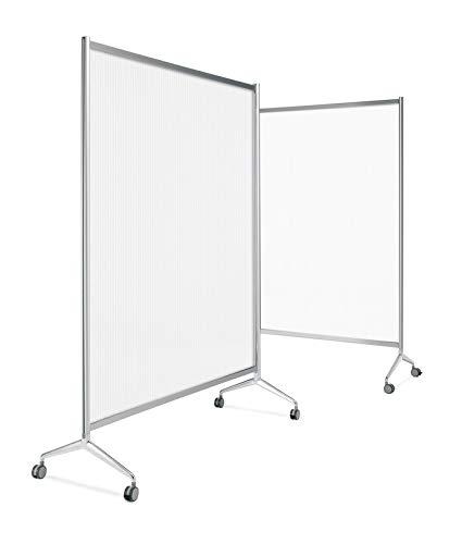 Mampara Ten-Limit de policarbonato acanalado transparente 100 x 180 cm. con rued